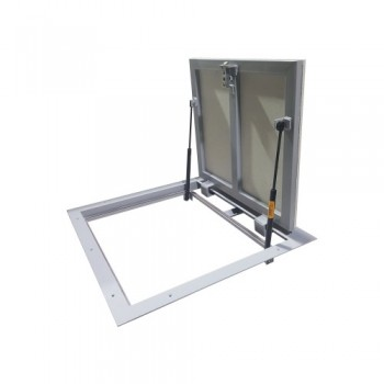 Floor access door with shock absorbers